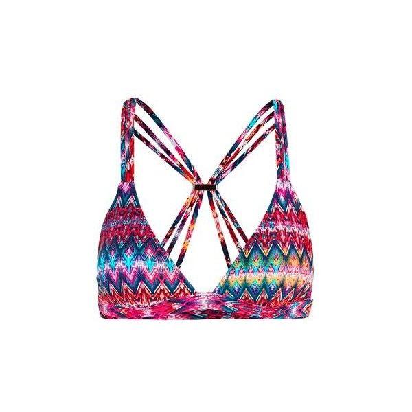 TopShop Bright Aztec Triangle Bikini Top ($26) ❤ liked on Polyvore featuring swimwear, bikinis, bikini tops, multi, triangle swim wear, strappy bikini, strappy bikini top, topshop bikini and aztec print bikini