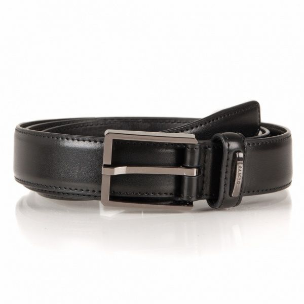 Mens Classic Black Leather Belt Made by Dents Style 8-1047