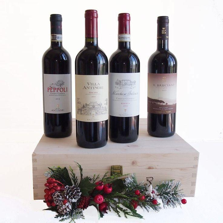 Dieses schöne Geschenk von Wein in Holzkiste enthält 4 wunderbare beste Weine von Marchesi Antinori Weinkellern