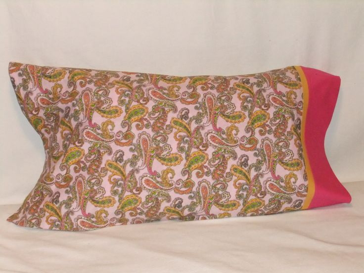 """PAISLEY in PINK PILLOWCASE - 20"""" x 35"""" by KatiesCOVERS on Etsy"""