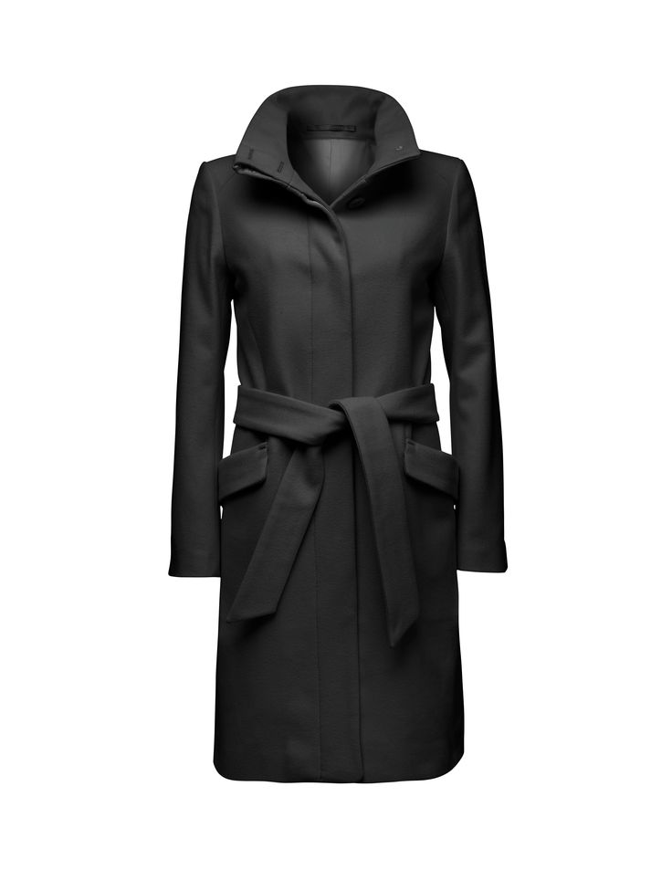 Tiger of Sweden. Women's belted overcoat in wool blend. High, stand-up collar, side panels, slanted flap pockets, inner pocket, back centre seam and vent. Fully lined. Slim fit. Knee length.