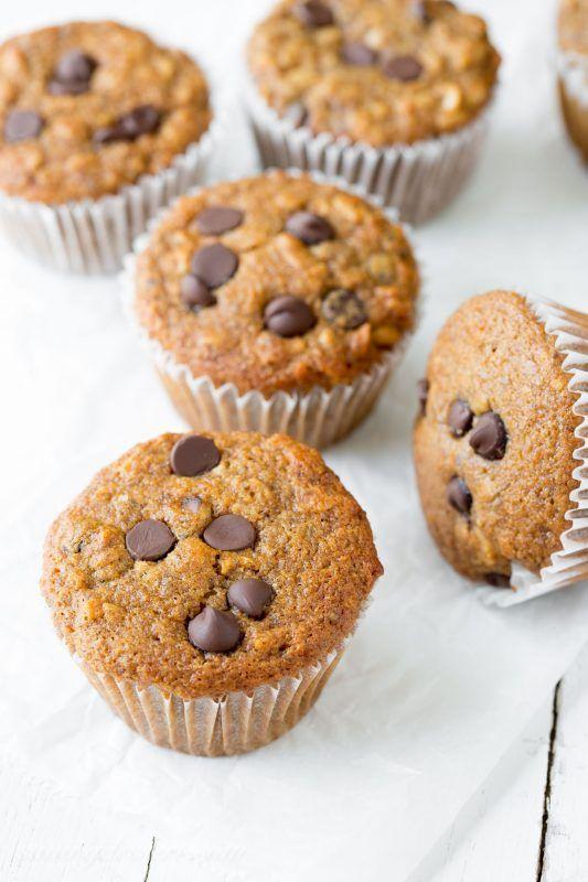 Super Healthy Dark Chocolate Chip Banana Muffins   www.savingdessert ...