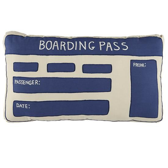 Boarding Pass Throw Pillow in Throw Pillows   The Land of Nod