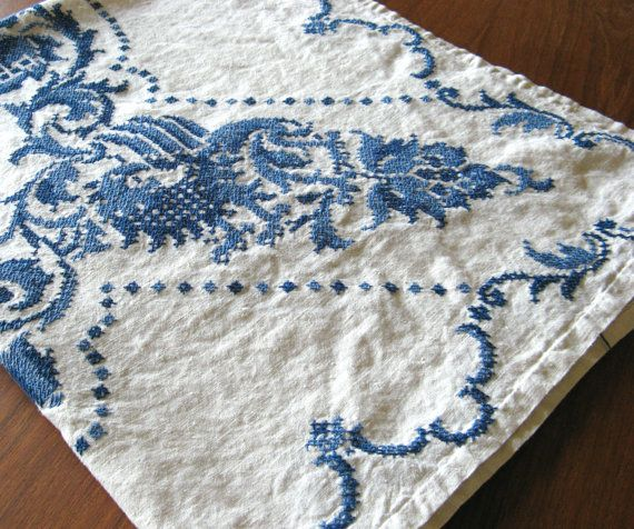 Cross Stitch Embroidered Linen Tablecloth by MarketHome on Etsy, $38.00