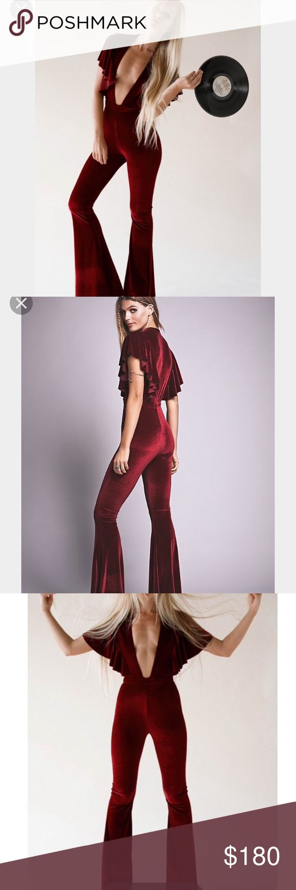 PENNY VELVET CATSUIT RED/ROUGE small NWT 4 way stretch velvet for that perfect fit. Deep v plunging neckline . Great material purchased from free people Sugarhighlovestoned  Pants Jumpsuits & Rompers