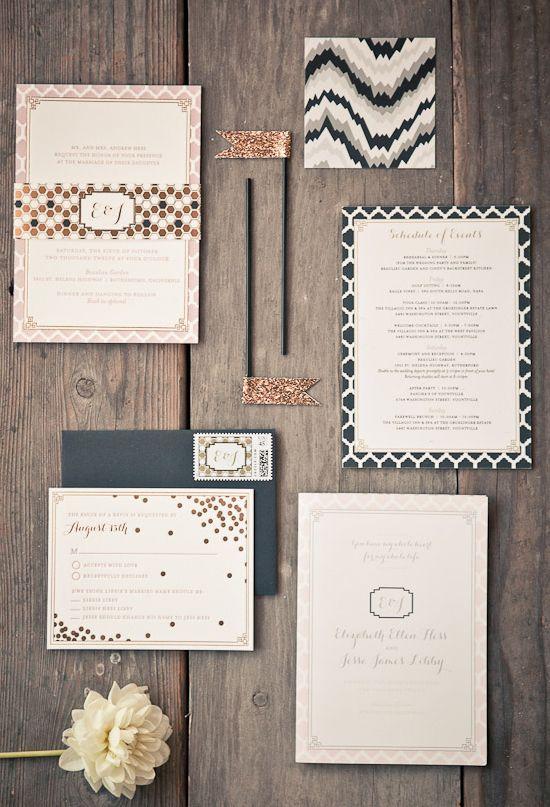 confetti and honey comb pattern wedding invitations