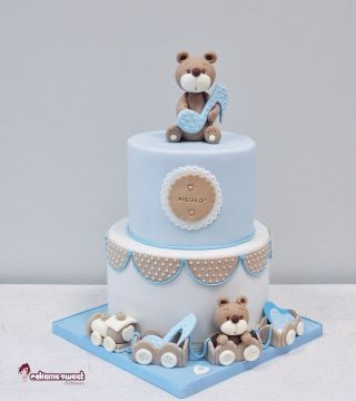 Baby Boy christning cake with choo choo train and teddies (Cakemesweet signature ) Light blue and white colours, fondant and royal icing