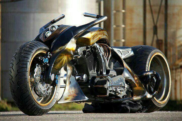 #BlackandGold Custom Futuristic Wide Rearwheel Motorcycle