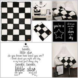 """Gehaakt Babydekentje """"Bobble Stars"""" Black & White 60x80cm #twinklestar #babydekentje #zwartwit"""