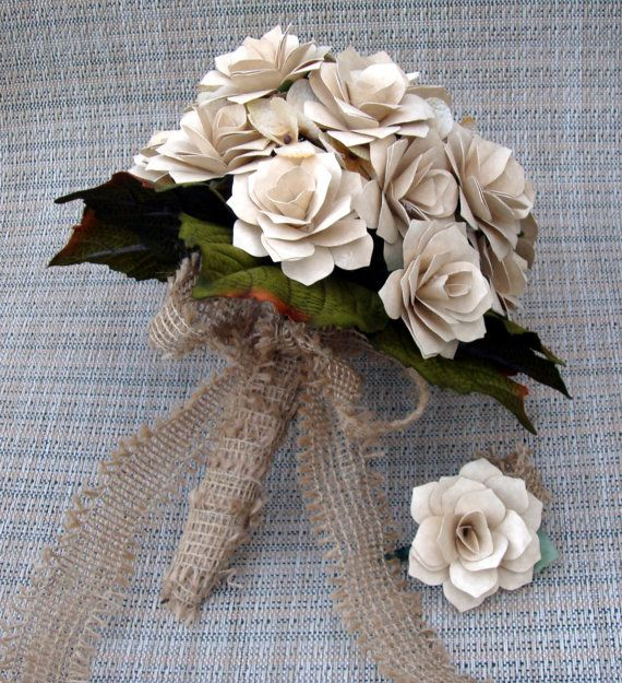 Rustic  Ivory   Roses Paper  Flower  Wedding Bouquet  Rehearsal bouquet Toss Bouquet Ready To SHip
