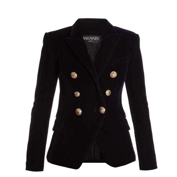 Balmain Six-button double-breasted velvet blazer ($1,970) ❤ liked on Polyvore featuring outerwear, jackets, blazers, navy, balmain blazer, balmain and balmain jacket