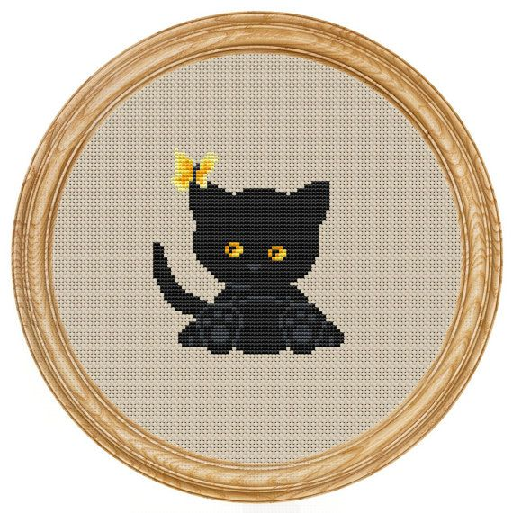 Cross Stitch Pattern PDF black cat and от HappyStitches4You, $5.00