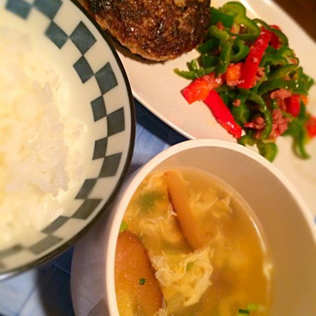 ハンバーグ☆ピーマン炒☆卵しいたけスープ - 8件のもぐもぐ - お夕飯☆ by itsukikki