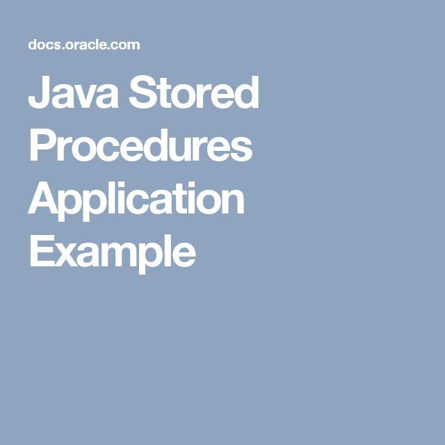 Java Stored Procedures Application Example