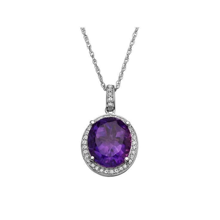 Amethyst & Lab-Created White Sapphire Sterling Silver Oval Halo Pendant Necklace, Women's, Purple
