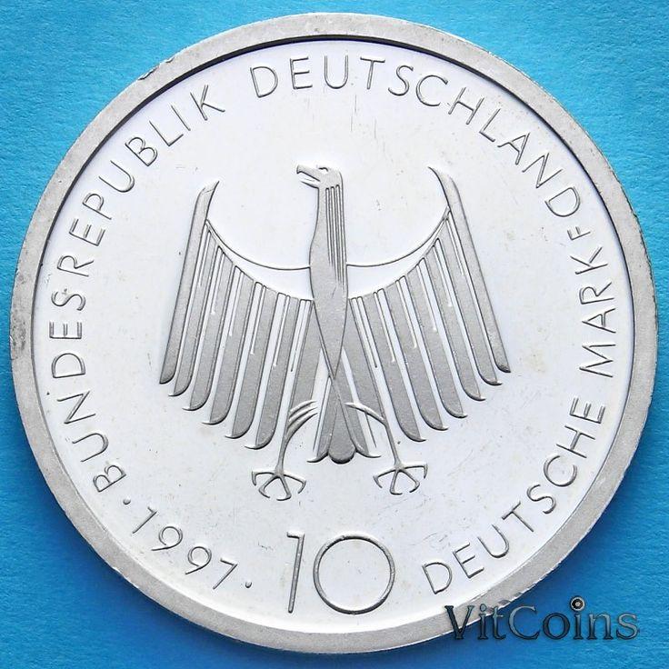 ФРГ : ФРГ 10 марок 1997 год. Дизель. F. Серебро. Пруф.