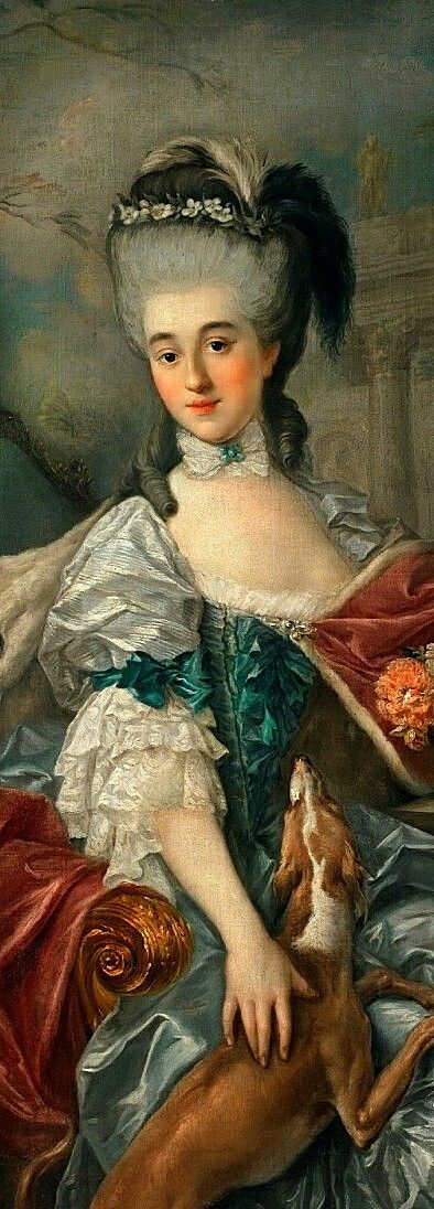"Portrait of Izabela Lubomirska (Elżbieta Czartoryska) ""The Blue Marquise"" 1770s Oil on canvas Marcello Bacciarelli.  Princess Elżbieta Izabela Czartoryska (21 May 1736 – 11 November 1816), better known under her married name of Izabela Lubomirska, was a Polish noblewoman #portrait#izabelalubomirska#czartoryska#princess#marcellobacciarelli#painting#poland"