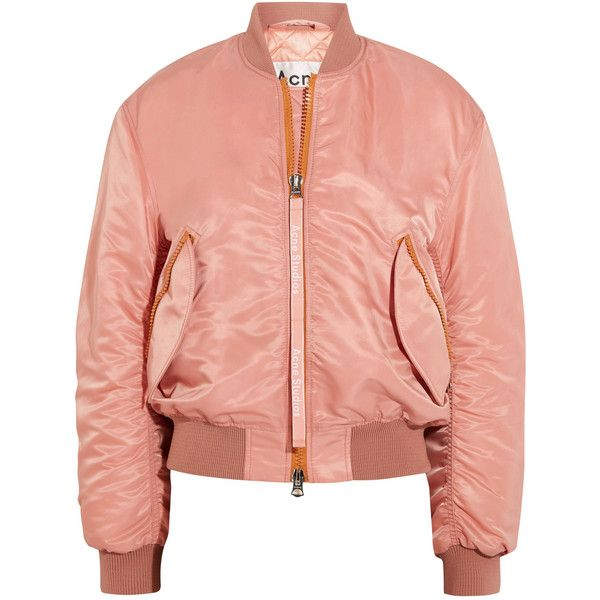 Acne Studios Clea shell bomber jacket ($665) ❤ liked on Polyvore featuring outerwear, jackets, acne, acne studios, bomber jacket, pink slip, zip bomber jacket, quilted jacket, floral-print bomber jackets and zip jacket