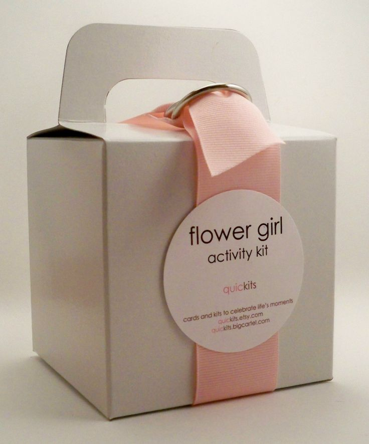 """flower girl kit:  the """"flower girl"""" activity kit includes:    goldfish crackers,  stickers,  a wedding activity placemat,  crayons,  bubbles,  lollipops,  a napkin,  a moist towelette. This is a great idea to keep her out of trouble! i'd probably throw a whole coloring book in there."""
