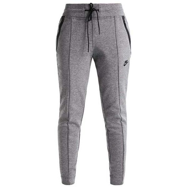 TECH FLEECE Treningsbukser carbon heather/heather/black ZALANDO ❤ liked on Polyvore featuring tops