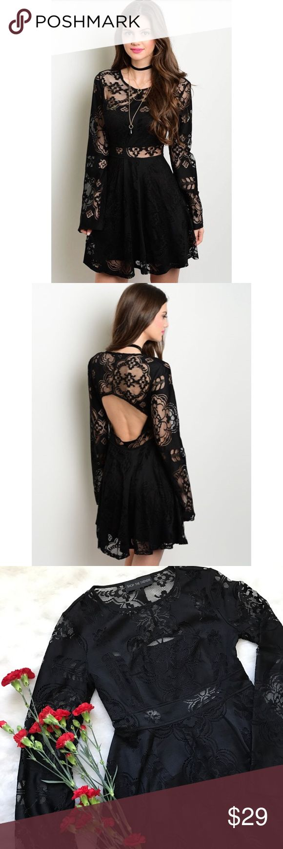 "Festival Love Black Lace Dress❤️ Hello gorgeous! Take this beauty out  for a night of fun. Perfect to pair with black or nude heels. Features a lace look & lace long bell sleeves. Grab this one of kind piece ASAP☺️  Material: 96% Polyester 4% Spandex  Size Small Measurements: (L): 33"" (B): 33"" (W): 24"" Fit: TTS 1 inch difference in between sizes.   Use the Buy Now feature to select your size & purchase☺️ Stylish Goodies Dresses Midi"