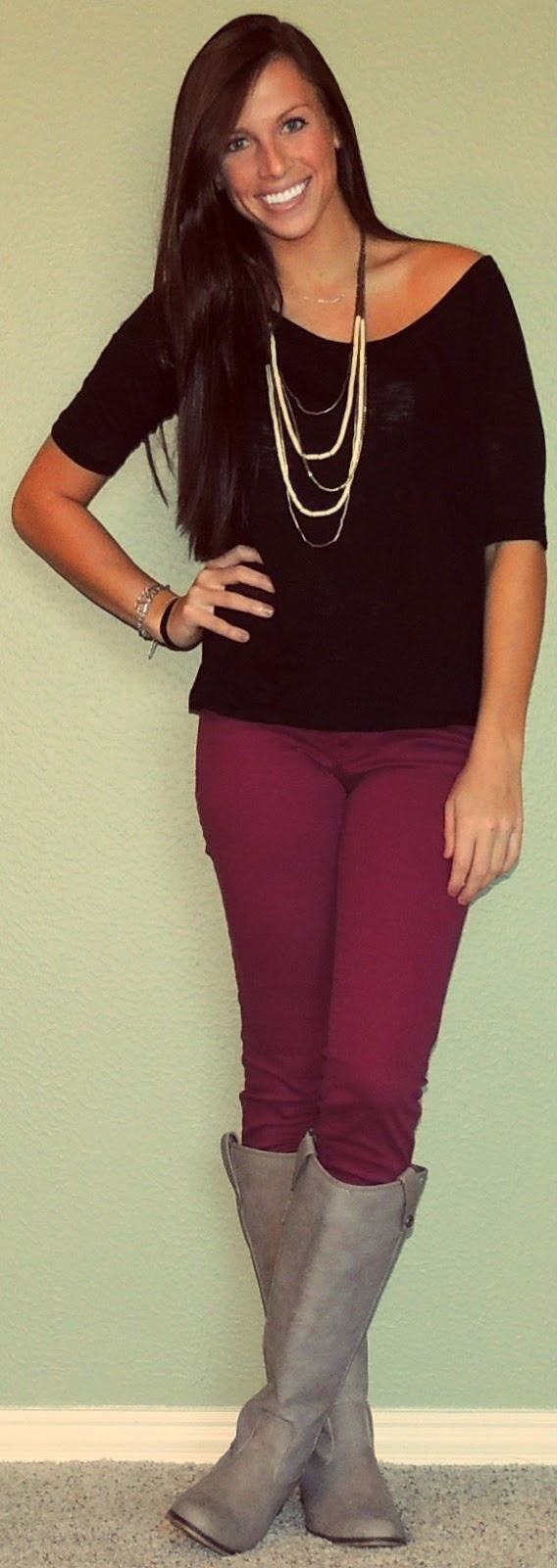 Top: F21 Jeans: TJ Maxx [Brand: Celebrity Pink] Boots: Addison [Brand: Breckelles] Necklace: Urban Outfitters