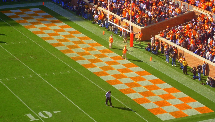trademark orange/white checkerboard endzone Tennessee