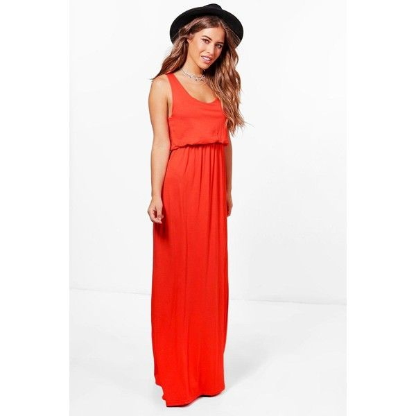 Boohoo Petite Serena Bagged Over Racer Back Maxi Dress ($12) ❤ liked on Polyvore featuring dresses, racerback maxi dress, maxi cocktail dresses, white rayon dress, racerback dress and racerback cocktail dress