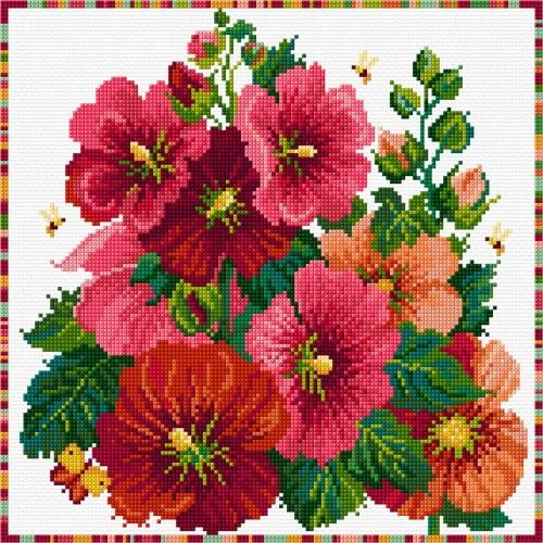 LJT121 Hollyhocks | Lesley Teare Needlework and Cross Stitch Chart Designs