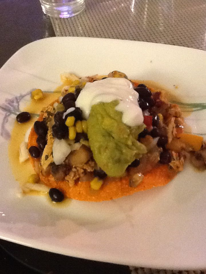 ... tostadas,chicken,black bean+corn mixture, homemade salsa, guacamole