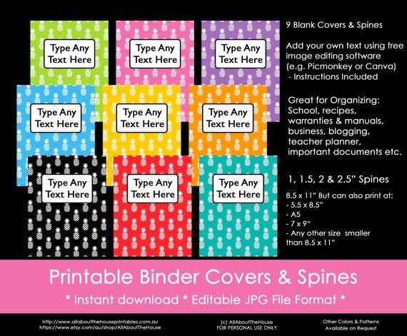 rainbow binder covers, pineapple, school, binder insert, editable, spine…