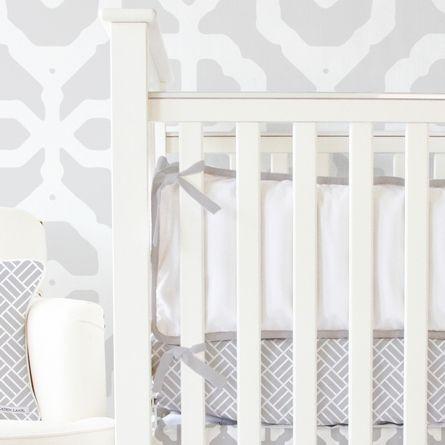 White Crib Bumper with Gray Trim