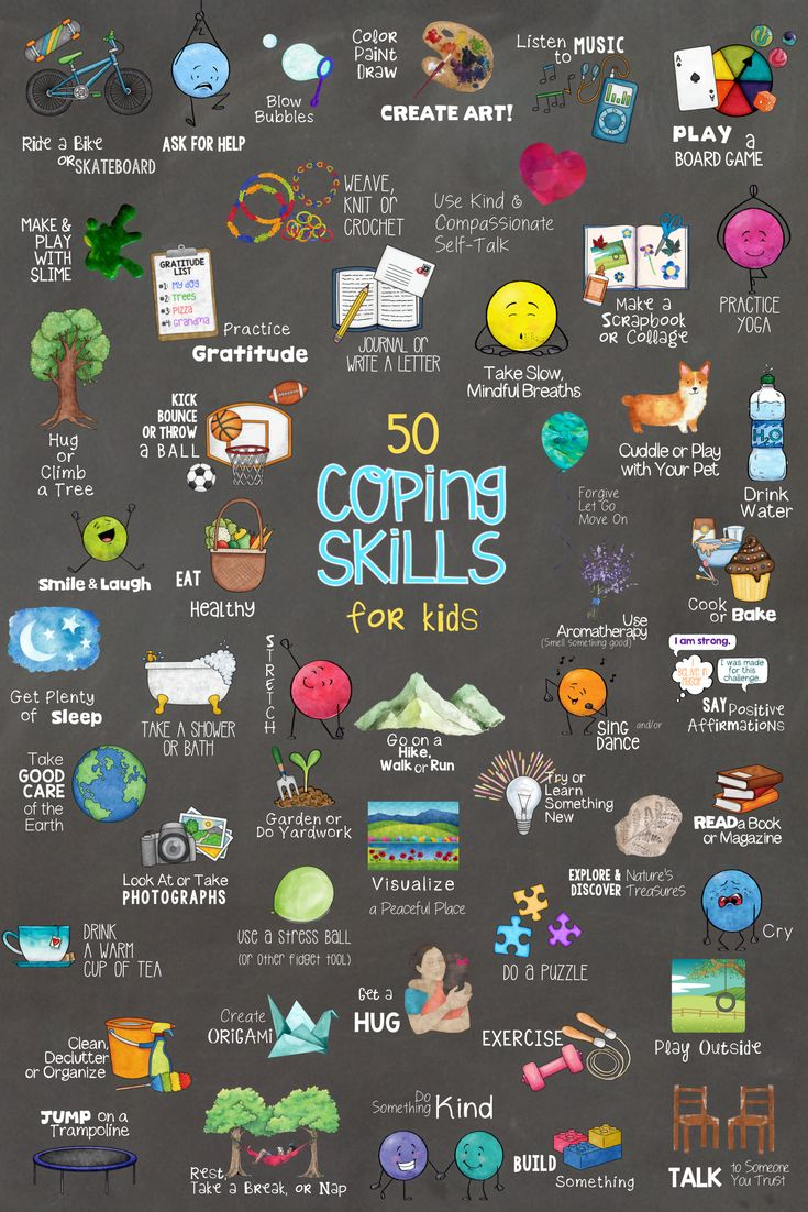50 Coping Skills for Kids.  Fun School Counseling Lesson, Sorting Cards & Collage Activities & Poster