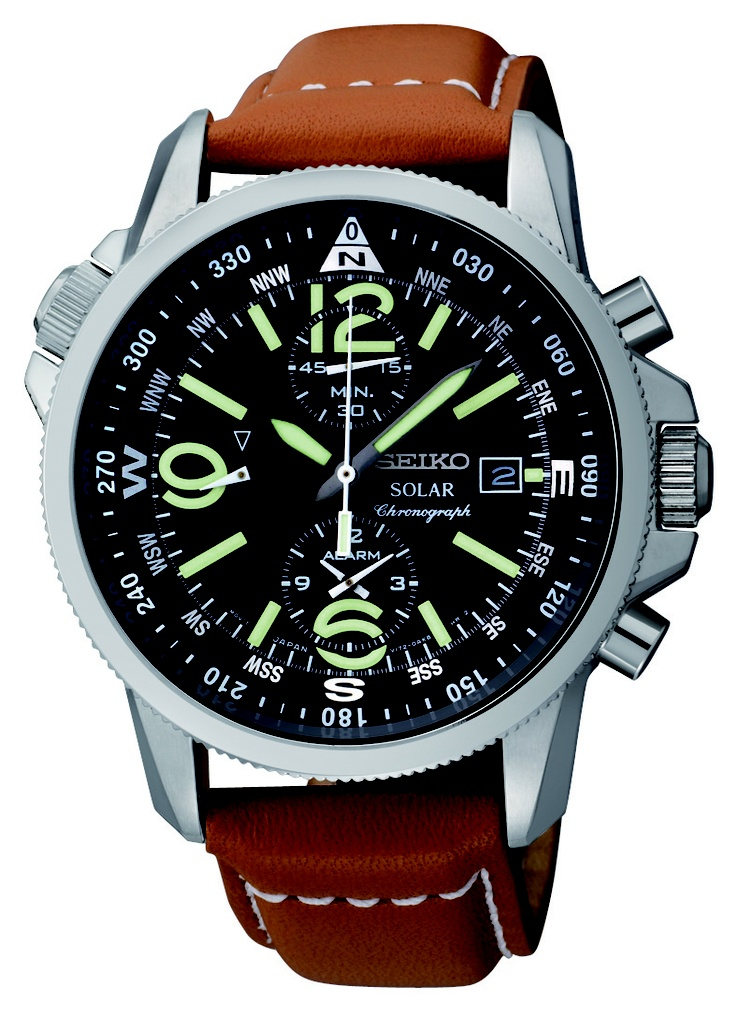 Seiko Solar Watch, Solar Alarm Cronograph, with crocodile strap and green accents, SSC081 www.SeikoUSA.com