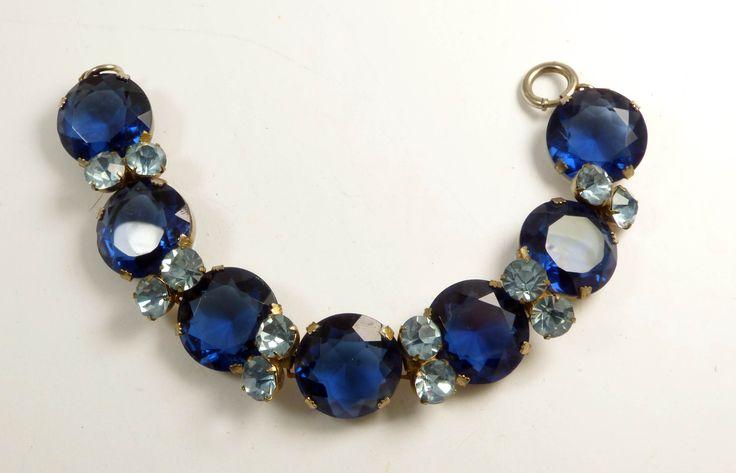 Vintage Dark Blue Headlight Light Blue Rhinestone Bracelet - Vintage Lane Jewelry - 1
