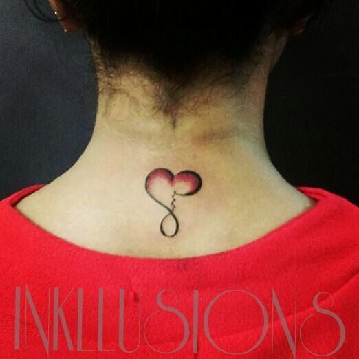 BACK NECK tattoo with LOVE word forming LOVE symbol..