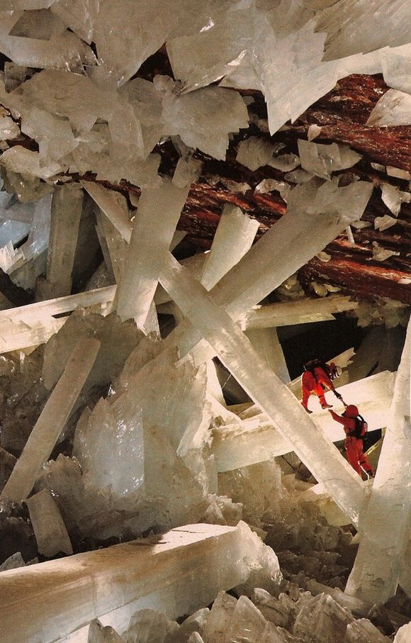 Cave of the Crystals or Giant Crystal Cave is a cave connected to the Naica Mine 300 metres (980 ft) below the surface in Naica, Chihuahua, Mexico. The main chamber contains giant selenite crystals (gypsum, CaSO4·2 H2O), some of the largest natural crystals ever found. - Credit: http://en.wikipedia.org/wiki/Cave_of_the_Crystals