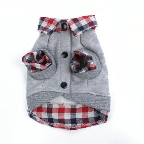 Urparcel Dog Cat Grid Sweater Puppy Warm T-Shirt Pet Clothes POLO Shirt Dog Coat Grey S - http://www.thepuppy.org/urparcel-dog-cat-grid-sweater-puppy-warm-t-shirt-pet-clothes-polo-shirt-dog-coat-grey-s/