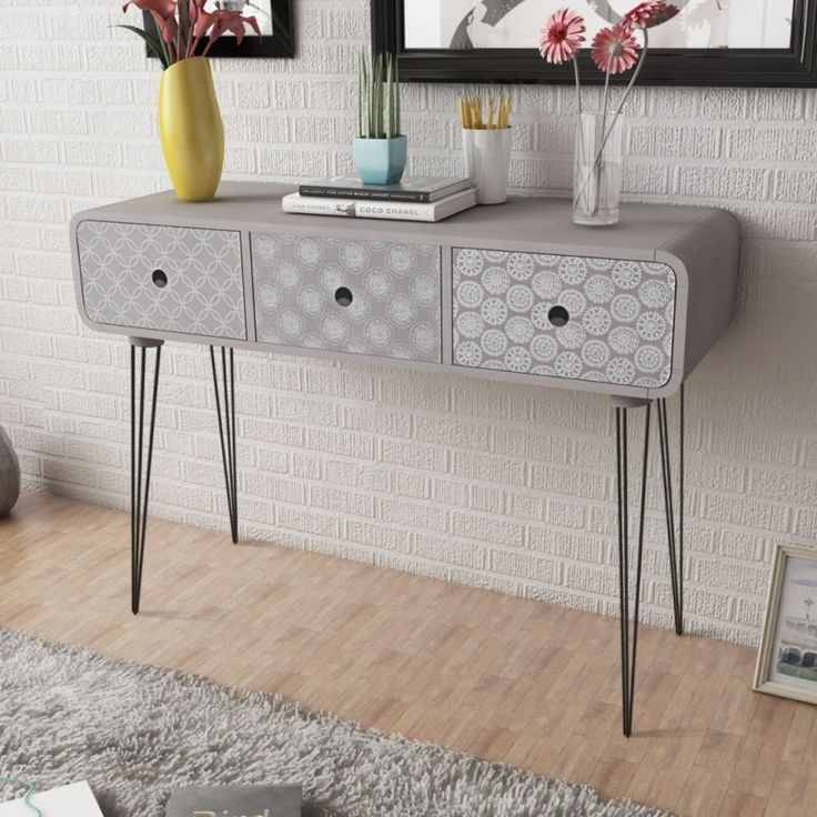 Grey Console Table Hallway 3 Drawers Drawer Dresser Side Cabinet Steel Pin Legs #HallwayConsoleTable