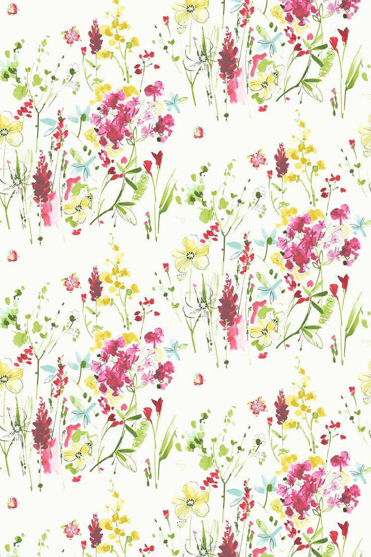 Meadow Flowers (MEADOW FLOWERS 2) - Blendworth Fabrics - A gorgeous floral printed design in a fresh, hand painted style. Shown here in a red colourway. Other colourways available, Please request sample for true colour and texture match.