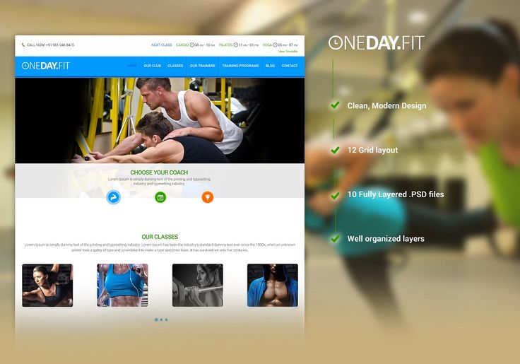 GYM - Fitness Club PSD Template by ONE7 CONCEPT on @creativemarket