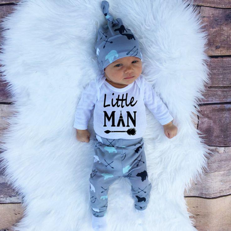 2018 Automne nouveau bébé garçon vêtements ensemble coton à manches longues Barboteuse + pantalon + chapeau three pcs. Nouveau-né bébé garçon vêtements ensemble SY161