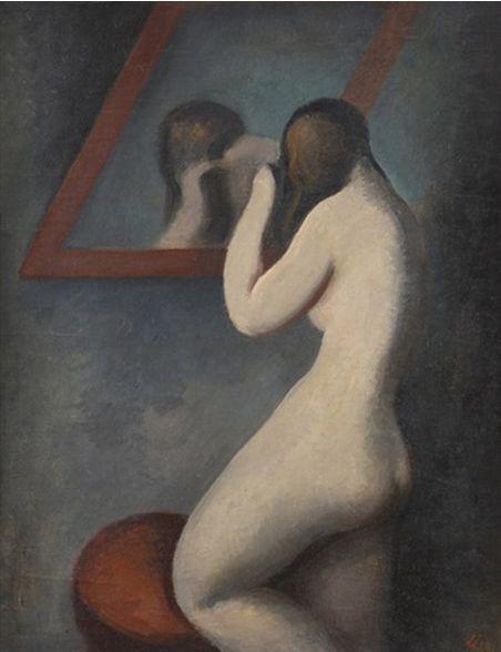 Painting by Ludmila Jirincova-Novakova (Czech, 1912–1994), 1937, Toaleta, oil on canvas.