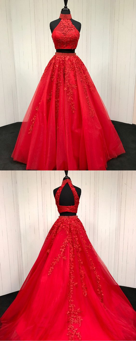 Red Lace Embroidery Two Piece Tulle Ball Gowns Quinceanera Dresses Beaded High Neck