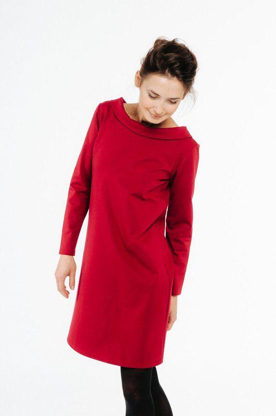 Frauen Rotes Kleid Hochzeit Gastekleid Elegantes Kleid Weihnachtskleid Schleife Kleid Formelle Kleid Langarm Kleid Minimalistische Kleidung Lose Minimalistische Kleidung Elegante Kleider Und Langarm Kleid