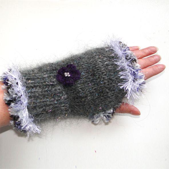 Handknitted Handwarmers - Grey Sparkle
