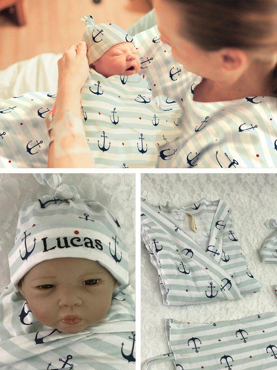 Maternity robe and swaddle set boy Custom baby hat Baby shower gift Swaddle blanket boy Baby name hat Mommy and me robe and swaddle set