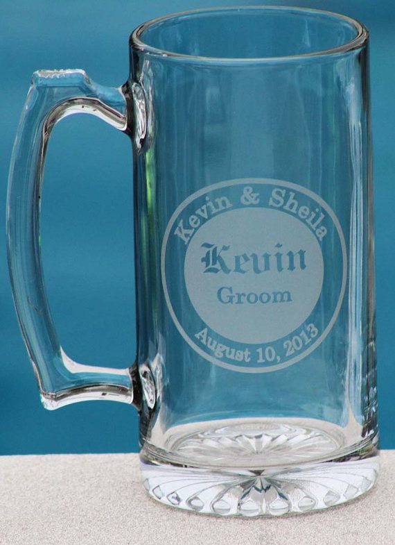 6 Personalized Groomsman Gift Etched Beer Mug. by alishasdesigns GROOMSMAN GIFT