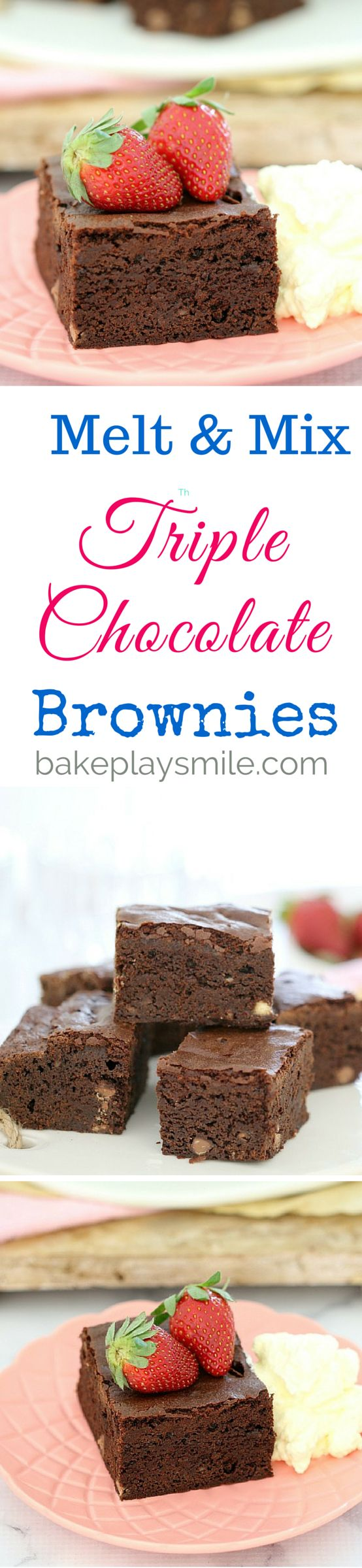 Seriously moist and decadently rich! These Melt & Mix Triple Chocolate Brownies are enough to satisfy even the biggest chocoholics out there! #easy #chocolate #brownies #triplechocolate #recipe #conventional #thermomix