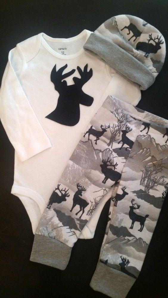 Baby Boy Camo Outfit Antler Outfit Deer Elk by TwiceAsNiceBaby